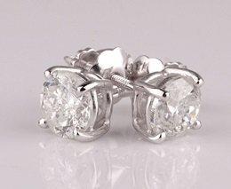 0.50ctw Diamond Earrings - 14kt White Gold