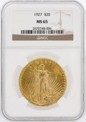 1927 Ngc Ms65 $20 St. Gaudens Double Eagle Gold Coin