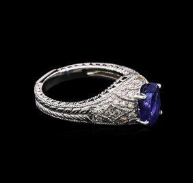 2.10ct Tanzanite And Diamond Ring - 14kt White Gold