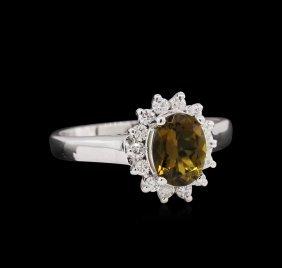 1.18ct Green Tourmaline And Diamond Ring - 14kt White