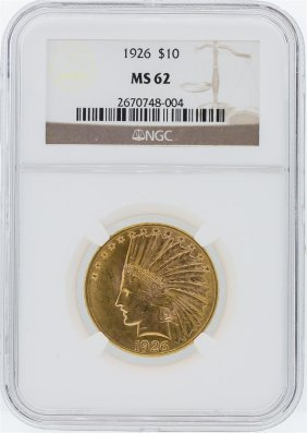 1926 Ngc Ms62 $10 Indian Head Eagle Gold Coin