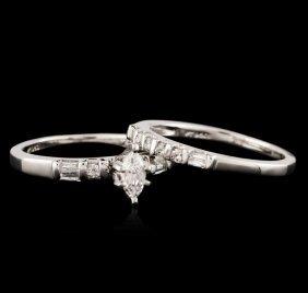 Platinum 0.85ctw Diamond Wedding Ring Set