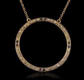 14kt Yellow Gold 0.20ctw Sapphire And Diamond Pendant