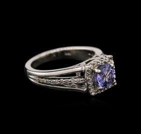 1.10ct Tanzanite And Diamond Ring - 14kt White Gold