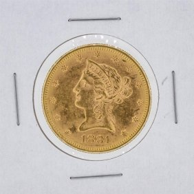 1881 $10 Bu Liberty Head Eagle Gold Coin