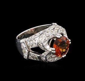 3.90ct Spessartite Garnet And Diamond Ring - 14kt White