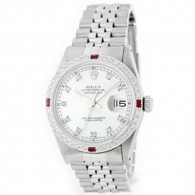 Rolex Stainless Steel 1.00ctw Diamond And Ruby Datejust
