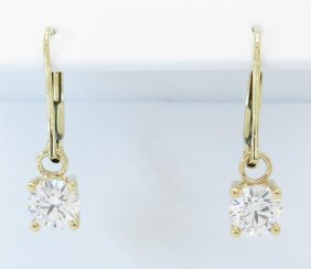 Gia Certified 1.17ctw Diamond Earrings - 14k Yellow