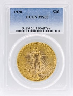 1928 Pcgs Ms65 $20 St. Gaudens Double Eagle Gold Coin
