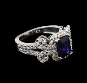 2.02ct Sapphire And Diamond Ring - 18kt White Gold