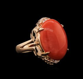 10.20ct Coral And Diamond Ring - 14kt Rose Gold
