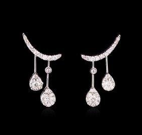 0.91ctw Diamond Earrings - 14kt White Gold