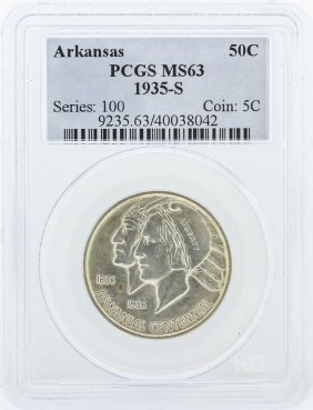 1935-s Pcgs Graded Ms63 Arkansas Commemorative Half
