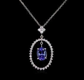 2.00ct Tanzanite And Diamond Pendant With Chain - 14kt