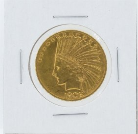 1908 $10 Motto Au Indian Head Eagle Gold Coin