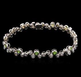 1.27ctw Demantoid Garnet And Diamond Bracelet - 14kt