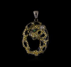 1.34ctw Diamond, Tsavorite And Enamel Pendant - 18kt