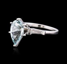 Platinum 2.59ct Aquamarine And Diamond Ring