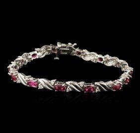 14kt White Gold 4.92ctw Ruby And Diamond Bracelet