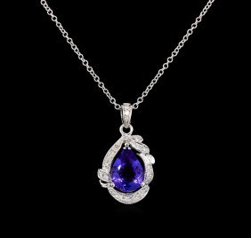 3.12ct Tanzanite And Diamond Pendant - 14kt White Gold
