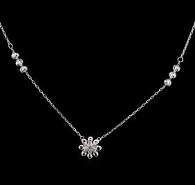 0.08ctw Diamond Necklace - 14kt White Gold