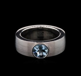 1.10ct Aquamarine Solitaire Ring - 14kt White Gold