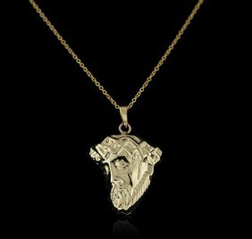 14kt Yellow Gold Jesus Pendant With Chain