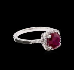 1.12ct Ruby And Diamond Ring - 14kt White Gold