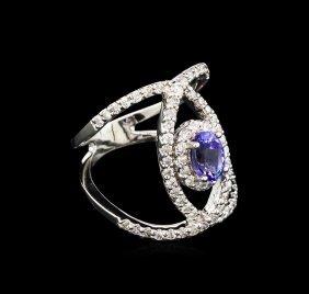 0.99ct Tanzanite And Diamond Ring - 14kt White Gold