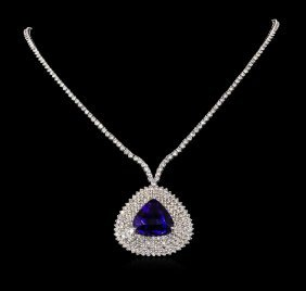 18kt White Gold 24.23ct Tanzanite And Diamond Necklace
