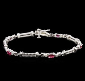 1.50ctw Ruby And Diamond Bracelet - 14kt White Gold