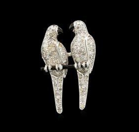1.90ctw Diamond Parrot Pin - 18kt White Gold