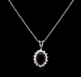 2.53ct Green Tourmaline And Diamond Pendant With Chain