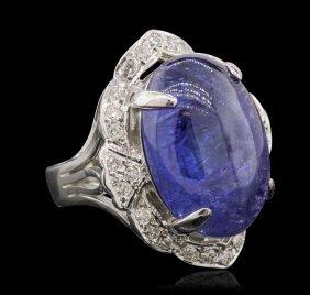 14kt White Gold 13.23ct Tanzanite And Diamond Ring