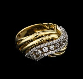 0.73ctw Diamond Ring - 14kt Two-tone Gold