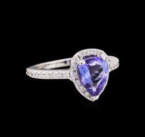 1.68ct Tanzanite And Diamond Ring - 14kt White Gold
