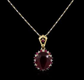 6.01ctw Ruby And Diamond Pendant With Chain - 14kt