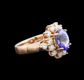 2.08ct Tanzanite And Diamond Ring - 14kt Rose Gold
