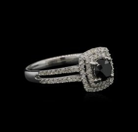 1.39ctw Black Diamond Ring - 14kt White Gold