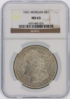 1921 Ngc Ms63 Morgan Silver Dollar