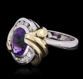 14kt Two-tone Gold 2.00ct Amethyst And Diamond Ring