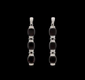 Crayola 21.00ctw Garnet And White Sapphire Earrings -
