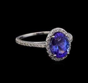 2.35ct Tanzanite And Diamond Ring - 14kt White Gold