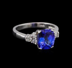 2.72ct Tanzanite And Diamond Ring - 14kt White Gold