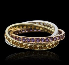 14kt Tri Color Gold 0.72ctw Amethyst, Citrine, And