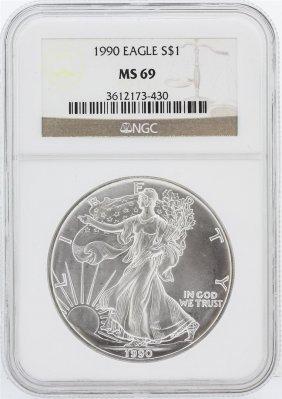 1990 Ngc Ms69 American Silver Eagle Dollar