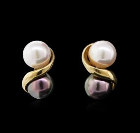 Black And White Pearl Earrings - 14kt Yellow Gold