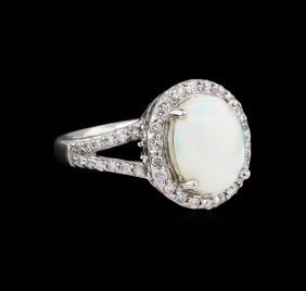 2.03ct Opal And Diamond Ring - 14kt White Gold