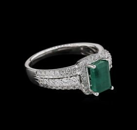 1.17ct Emerald And Diamond Ring - 18kt White Gold