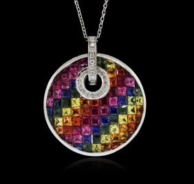 14kt White Gold 8.62ctw Multicolor Sapphire And Diamond